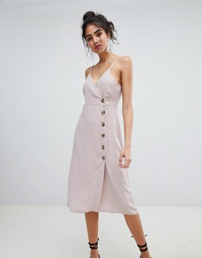 photo Button Through Wrap Dress by New Look, color Nude - Image 1