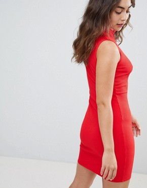 photo Zip Detail High Neck Bodycon Dress by New Look, color Red - Image 2