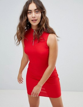 photo Zip Detail High Neck Bodycon Dress by New Look, color Red - Image 1
