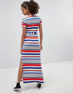 photo Stripe V-Neck T-Shirt Maxi Dress by New Look, color White Pattern - Image 2