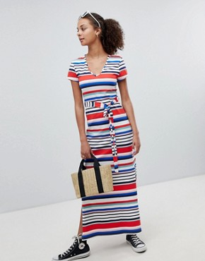 photo Stripe V-Neck T-Shirt Maxi Dress by New Look, color White Pattern - Image 1