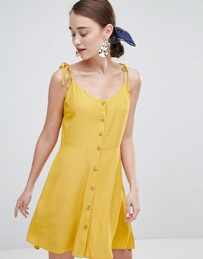 photo Button Through Skater Dress by New Look, color Yellow - Image 1