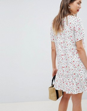 photo Maternity Drop Waist Mini Dress with Pep Hem in Mono Floral Print by ASOS DESIGN, color Multi - Image 2