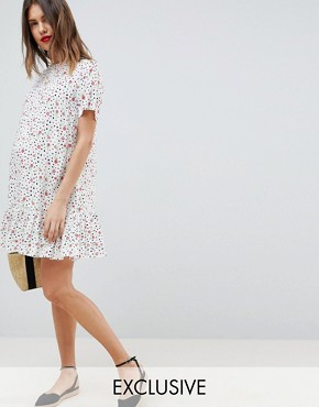photo Maternity Drop Waist Mini Dress with Pep Hem in Mono Floral Print by ASOS DESIGN, color Multi - Image 1