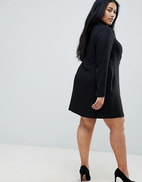 photo Ultimate Tux Mini Dress with Gold Buttons by ASOS DESIGN Curve, color Black - Image 2