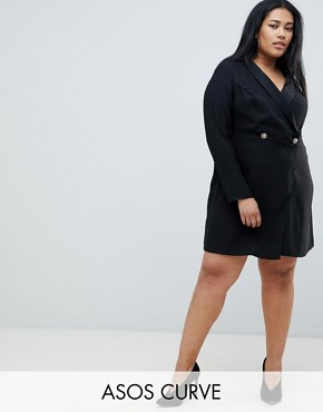 photo Ultimate Tux Mini Dress with Gold Buttons by ASOS DESIGN Curve, color Black - Image 1