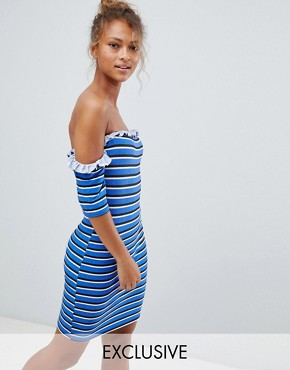photo Off Shoulder Bodycon Dress in Stripe by Wednesday's Girl, color Blue - Image 1