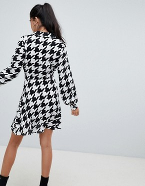 photo Soft Tux Wrap Mini Dress in Large Dogtooth by ASOS DESIGN, color Multi - Image 2