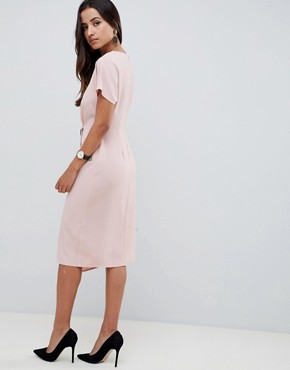 photo Wrap Midi Dress with Side Buttons by ASOS DESIGN, color Nude - Image 2