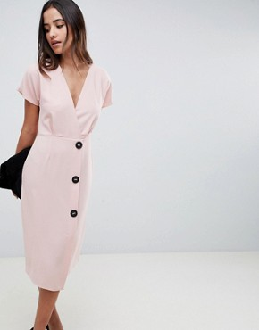 photo Wrap Midi Dress with Side Buttons by ASOS DESIGN, color Nude - Image 1