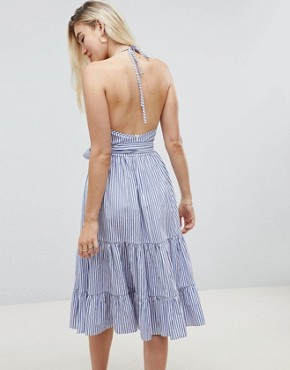 photo Striped Tiered Midi Halter Sundress by ASOS DESIGN, color Multi - Image 2