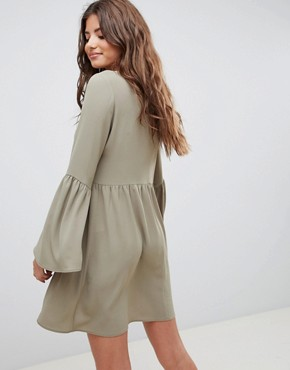 photo Fluted Sleeve Smock Mini Dress by ASOS DESIGN, color Khaki - Image 2