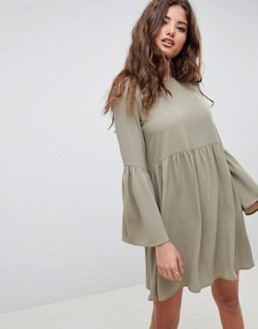 photo Fluted Sleeve Smock Mini Dress by ASOS DESIGN, color Khaki - Image 1