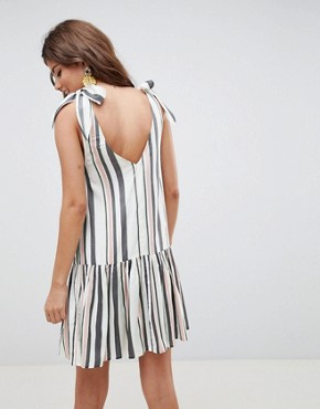 photo Stripe Mini Sundress with Buttons by ASOS DESIGN, color Multi - Image 2
