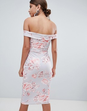 photo Bardot Floral Midi Dress by Missguided, color Multi - Image 2