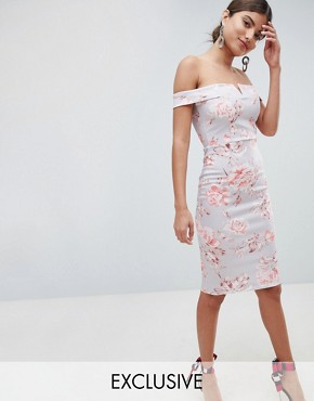 photo Bardot Floral Midi Dress by Missguided, color Multi - Image 1