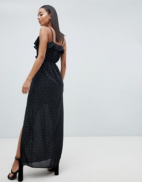 photo Polka Dot Maxi Dress by Missguided Tall, color Black - Image 2