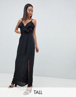 photo Polka Dot Maxi Dress by Missguided Tall, color Black - Image 1