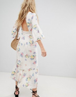 photo Lace Insert Button Through Maxi Dress in Soft Floral by ASOS DESIGN, color Multi - Image 2