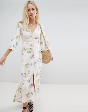 photo Lace Insert Button Through Maxi Dress in Soft Floral by ASOS DESIGN, color Multi - Image 1