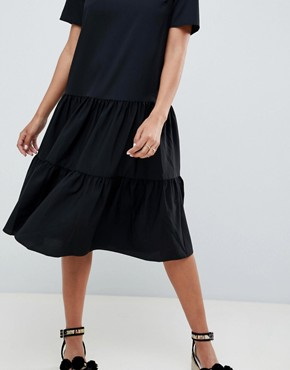 photo Tiered Smock Midi Dress by ASOS DESIGN, color Black - Image 3