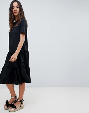photo Tiered Smock Midi Dress by ASOS DESIGN, color Black - Image 4
