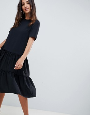 photo Tiered Smock Midi Dress by ASOS DESIGN, color Black - Image 1