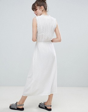 photo Frill Wrap Midaxi Dress by Leon and Harper, color White - Image 2