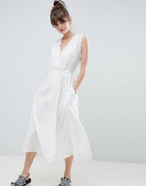 photo Frill Wrap Midaxi Dress by Leon and Harper, color White - Image 1
