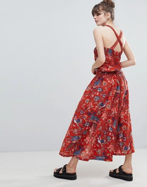 photo Pinafore Bird Print Maxi Dress by Leon and Harper, color Red - Image 2