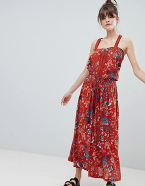 photo Pinafore Bird Print Maxi Dress by Leon and Harper, color Red - Image 4