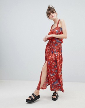 photo Pinafore Bird Print Maxi Dress by Leon and Harper, color Red - Image 1