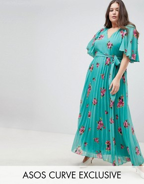 photo Floral Flutter Sleeve Pleated Maxi Dress by ASOS DESIGN Curve, color Multi - Image 1