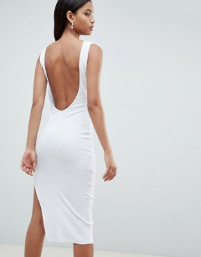 photo Rib Knot Front Low Back Midi Dress by ASOS DESIGN, color White - Image 2
