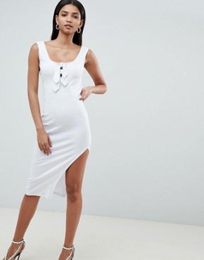 photo Rib Knot Front Low Back Midi Dress by ASOS DESIGN, color White - Image 1
