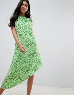 photo Ditsy Print Midi Dress with Button Detail by ASOS DESIGN, color Ditsy Print - Image 1