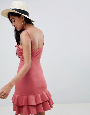 photo Cut Out Sundress with Pep Hem by ASOS DESIGN, color Rose - Image 2