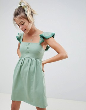 photo Mini Smock Dress with Tassel Frill Sleeve by ASOS DESIGN, color Sage - Image 1