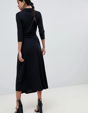 photo Midi Shirt Dress with Safety Pin by ASOS DESIGN, color Black - Image 2