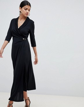 photo Midi Shirt Dress with Safety Pin by ASOS DESIGN, color Black - Image 1
