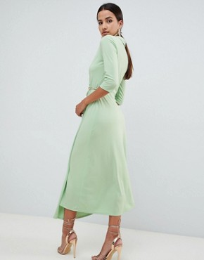 photo Midi Shirt Dress with Safety Pin by ASOS DESIGN, color Mint - Image 2