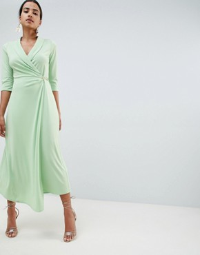 photo Midi Shirt Dress with Safety Pin by ASOS DESIGN, color Mint - Image 1