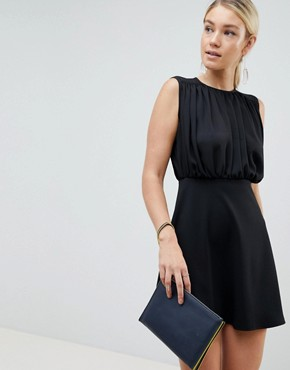 photo Mini Woven Mix a-line Dress by ASOS DESIGN, color Black - Image 1