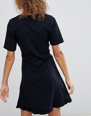 photo Button Through Tea Dress with Frill Hem by ASOS DESIGN, color Black - Image 2