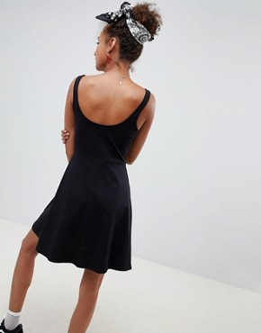 photo Mini Skater Dress with Sweetheart Neckline by ASOS DESIGN, color Black - Image 2