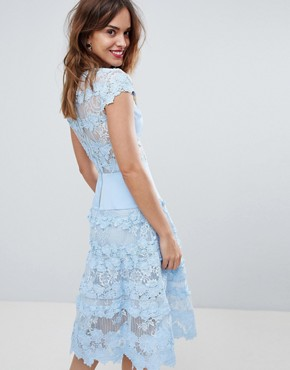 photo Applique Midi Sky Dress by Bronx and Banco, color Blue - Image 2