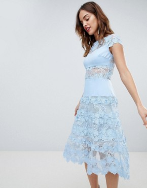 photo Applique Midi Sky Dress by Bronx and Banco, color Blue - Image 1