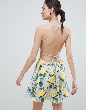 photo Strappy Babydoll Mini Dress in Floral Print by ASOS DESIGN, color Blue Based Floral - Image 2