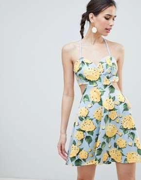 photo Strappy Babydoll Mini Dress in Floral Print by ASOS DESIGN, color Blue Based Floral - Image 1