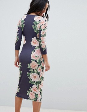 photo Bodycon Floral Dress with Sleeve by Bluebelle Maternity, color Navy/Multi - Image 2